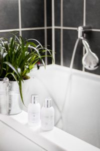 Cleaning services conducted on a bathroom. Sparkling clean.